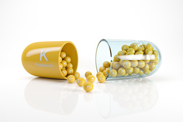 3d rendering of a vitamin capsule with vitamin K - potassium