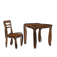 vector, isolated, brown table and chair, sketch