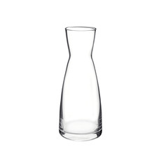 Empty glass carafe isolated on white background. Side view.