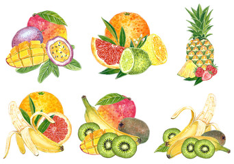 Set of six exotic fruit illustrations for jam, juice, summer menu, cocktail recipe. Hand drawn watercolor illustration, cartoon style, isolated on white.
