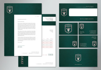 Branded Stationery Set with Dark Green Textured Background