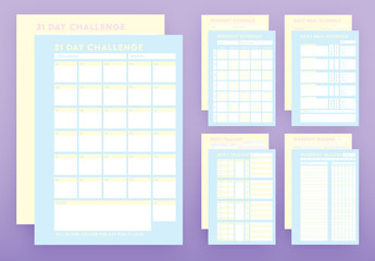 Pastel Blue and Yellow Health Tracker Layout