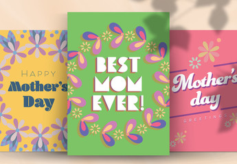 Mother's Day Card Layouts with Floral Illustrations