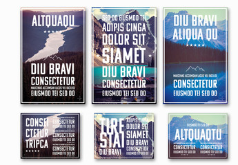 Travel Poster Layouts with Large Text and Photo Placeholders