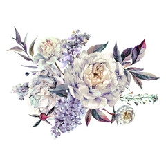 Watercolor White Peonies and Lilac Bouquet