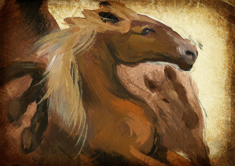 Horse. Hand painting. Vintage processing.