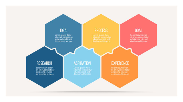 Business infographics with 6 steps, options, hexagons. Vector template.