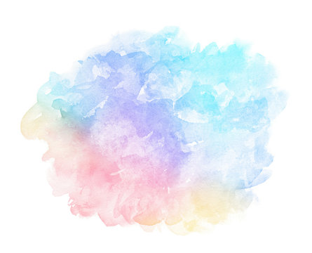 Abstract pink blue red yellow green violet orange purple watercolor on white background.The color splashing in the paper.It is a hand drawn.