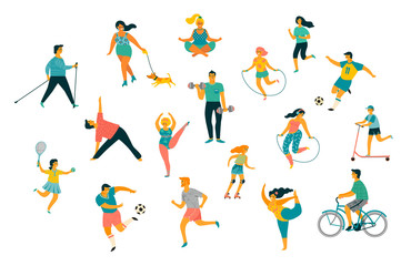 World Health Day. Vector illustration of people leading an active healthy lifestyle. Wall mural