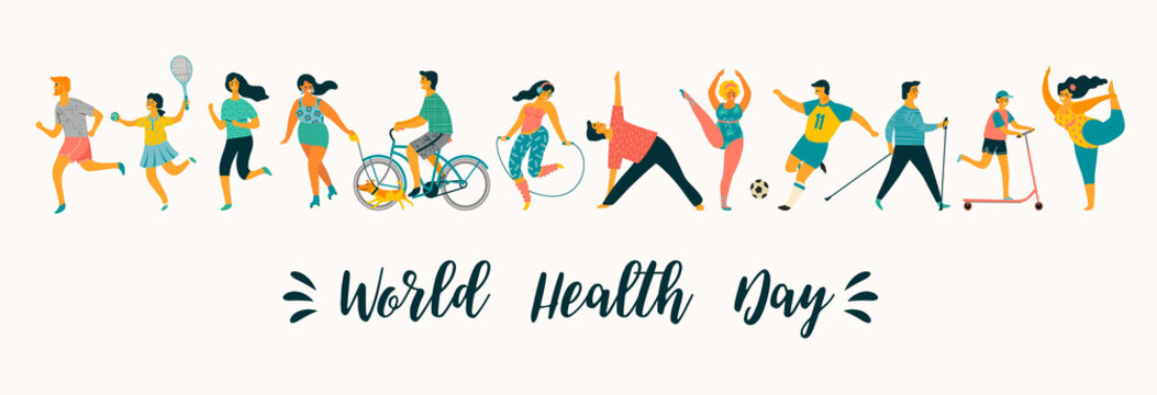 World Health Day. Vector illustration of people leading an active healthy lifestyle.