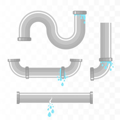 Leaking pipes isolated. Broken pipeline. Vector illustration
