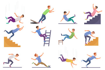 Set of falling man isolated. Falling from chair accident, falling down stairs, slipping, stumbling falling man vector illustration.