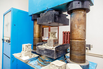 Construction laboratory-press for determination of hardness, density and other characteristics of concrete