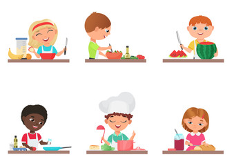 Cute cartoon kids preparing food on the kitchen set isolated vector illustration.