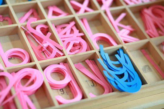 Montessori alphabet learning materials at the classroom