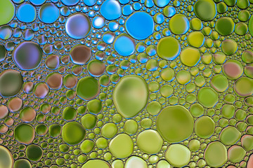 Beautiful abstract water oil bubble colorful background. Natural backdrop.