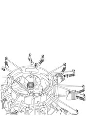 Disassembled radial engine on a white