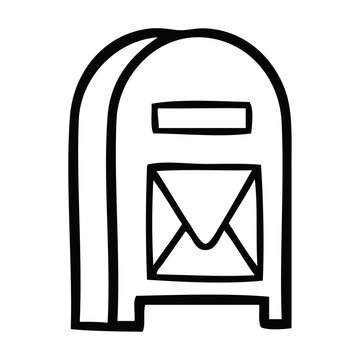 line drawing cartoon mail box