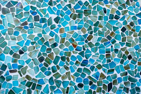 Irregular shaped Seas glass tile mosaic wall