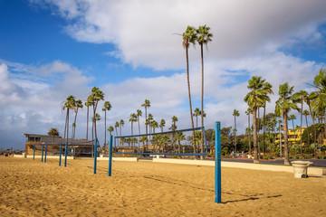 Beach volleyball nets on the Corona del Mar State Beach near Los Angeles