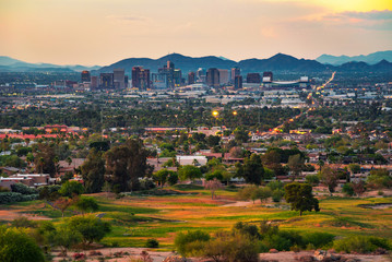 Fotomurales - Phoenix Arizona skyline at sunset