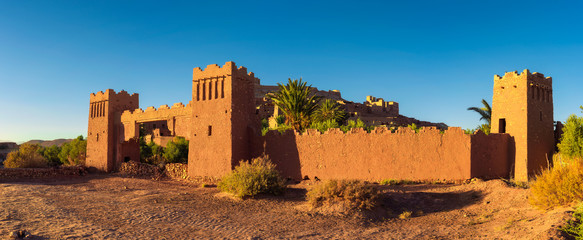 Entry gate of Ait Benhaddou in Morocco at sunset