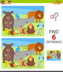 differences task with cartoon animal characters