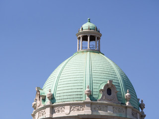 Green roof dome of the Belgrade parlament building