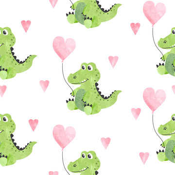 Seamless childish vector pattern with cute watercolor crocodiles and hearts.