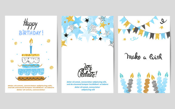 Happy Birthday cards set in blue and golden colors. Celebration vector templates with birthday cake and stars