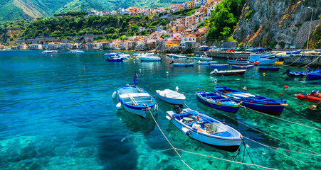 beautiful sea and places of Calabria -Scilla town with traditional fishing boats. south of Italy