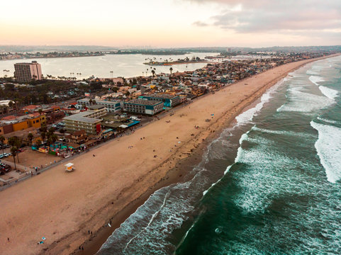 Aerial view of Pacific beach and Mission bay in San Diego