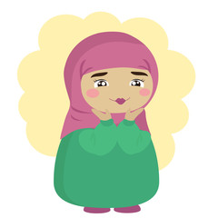 Cute Muslim girl with her palms at her face. Vector illustration.