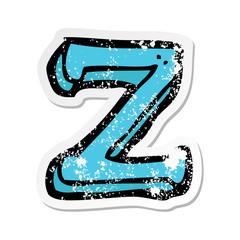 retro distressed sticker of a cartoon letter Z