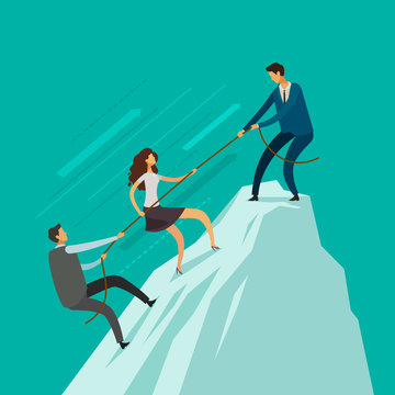 Business people is helping each other to the top of mountain. Teamwork concept. Climbing up, infographics vector illustration