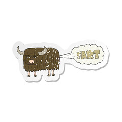 1f925a61 retro distressed sticker of a cartoon hairy cow farting
