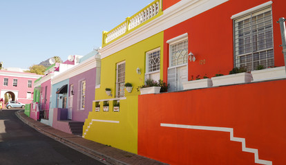 Colourful houses in Bo-Kaap District of Cape Town, South Africa.