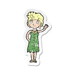 retro distressed sticker of a cartoon hippie woman waving