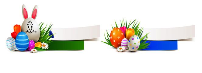 Banner Set mit Osterhasen Ei und bunt bemalten Ostereier, Tulpen und Wiese