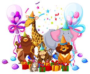 Wild animal celebrate birthday