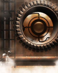 3d illustration graphic background of mechanical gears in factory
