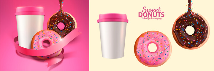 Sweet donut and take out coffee