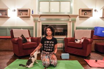 Yoga instructor Jessi Colon leads a cat yoga class at Brooklyn cat cafe in Brooklyn