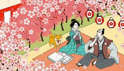 Cherry blossom viewing in ukiyo-e