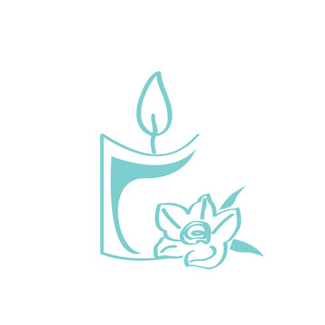 Isolated candle icon with a flower. Spa logo. Vector illustration design