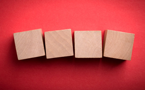 Four Blank Wooden Blocks isolated