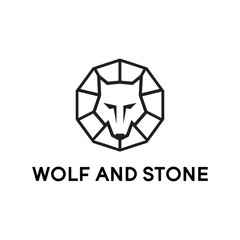 wolf and stone line logo design vector illustration