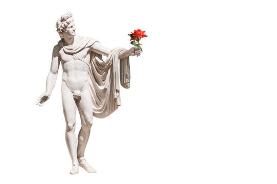 Statue of Apollo Belvedere isolated on white
