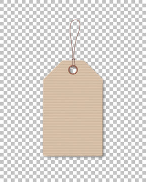 Brown cardboard price tag for sale campaign. Realistic paper label template with corrugated texture isolated on transparent background. Production promotion and announcement vector illustration.