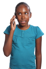 African American school girl talking on cell phone